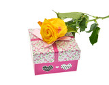 gift box with bow and yellow rose  isolated on white background
