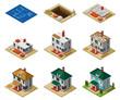 House Construction Phases Isometric Set