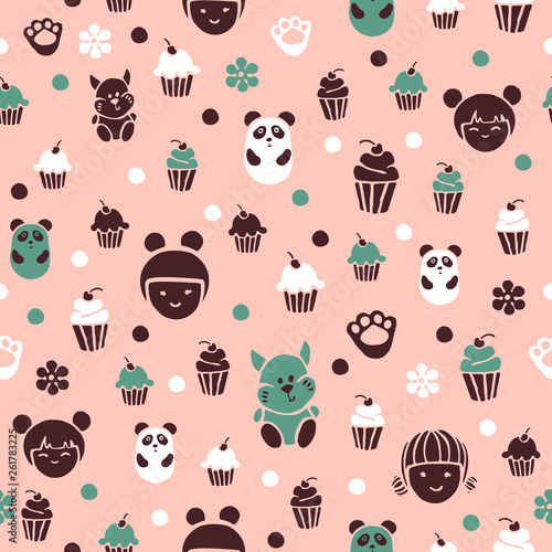 Seamless pattern in kodomo style. Cakes and little animals on a pink background. - 261783225