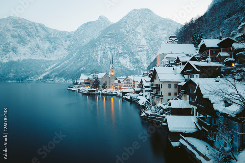 Hallstatt at twilight in winter, Salzkammergut, Austria © JFL Photography