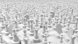 large crowd of white chess pieces, 3d illustration