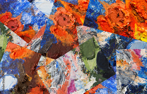 Abstract collage of fragments of the artist's palette with oil paint - 261798239