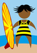 People in swimwear with a surfboard on the background of sea