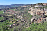 Panoramic view from Ronda in Andalucia Spain looking towards the Grazalema National Park, Spain