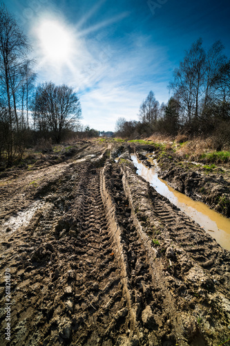 Tire imprints. Off-road track. Sun beams in spring landscape. Puddle in tyre rut. Muddy bumpy path in detail. Rutted terrain way in military area. Dirty water. Trees silhouettes. Sunbeams on blue sky.