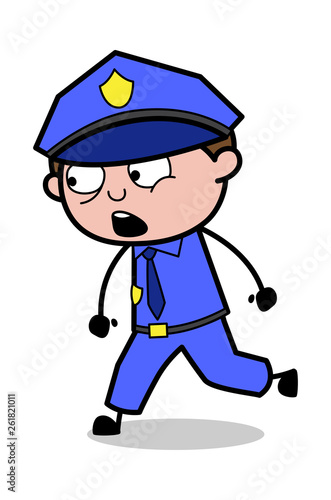 Talking While Walking - Retro Cop Policeman Vector Illustration