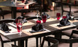 black cutlery for dinner in a restaurant - 261837815