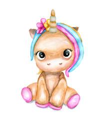 Watercolor cute unicorn. Children's watercolor illustration for baby.