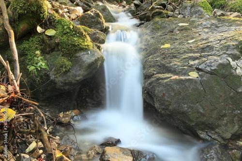 canvas print picture kleiner Wasserfall am Bach