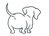 Cute dachshund sausage dog vector cartoon illustration isolated on white. Simple black and white line drawing of  wiener puppy, rear view. Funny doxie butt, dog lovers, pets, animals theme.