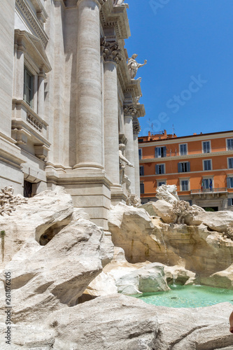 Amazing view of Trevi Fountain (Fontana di Trevi) in city of Rome, Italy