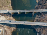 Top drone view of bridge over Bistraya Sosna River in Yelets