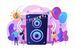 Young tiny people listening to music and dancing in city park at summer party. Open air party, open air event, outdoor dance event concept. Bright vibrant violet vector isolated illustration