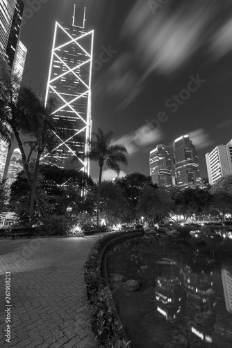 fototapeta na ścianę High rise office building and public park in midtown of Hong Kong city at night