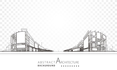 3D illustration architecture building abstract background.