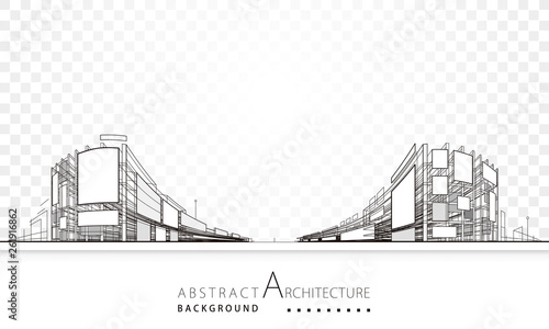 3D illustration architecture building abstract background. - 261916862