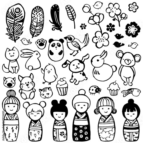 Cute animals, kokeshi dolls and more in the style of kodomo. Hand drawn miniatures for design. - 261920600