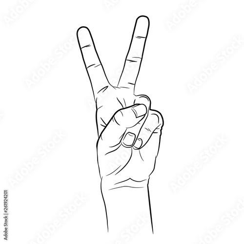 Contour hand, Two fingers,  illustration in sketch style © Yevhen