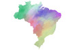 Quadro Colorful watercolor Brazil map on canvas background. Digital painting.