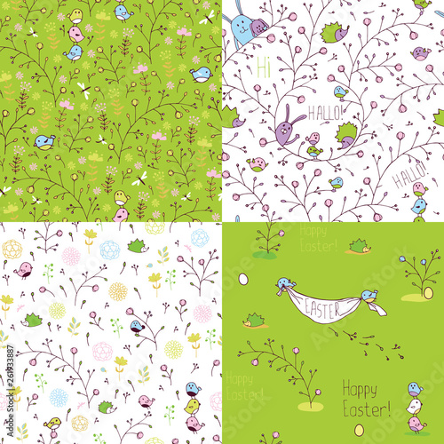 Set of spring seamless patterns. Stylized animals and nature. - 261933887