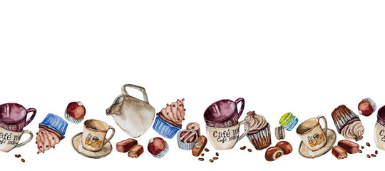 Cups, cupcakes and candies painted in watercolor. © sriba3