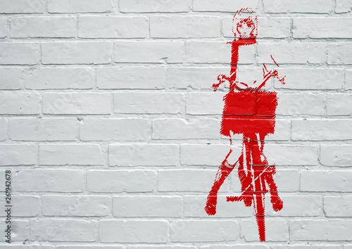 Street art. Femme faisant du vélo - 261942678