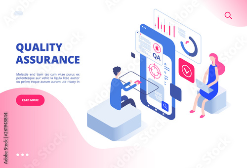 Quality assurance concept. Assured result productive decision analysis inspection software fixing bug system testing vector web page. Illustration of quality assurance control, satisfaction service - 261948844