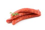 Fototapeta Coffie - raw sausage isolated on white background © M.studio