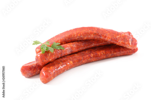 raw sausage isolated on white background - 261957860