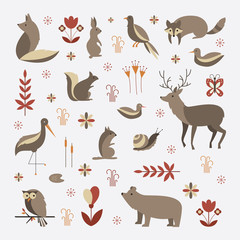 Mammals vector flat illustration, simple forest animals