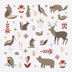 Mammals vector flat illustration, simple forest animals