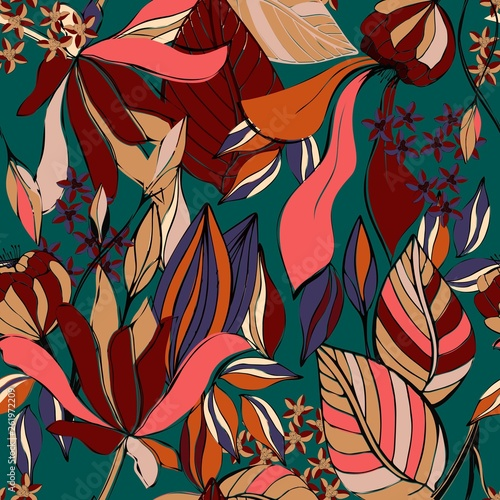 Floral seamless pattern. Vintage flowers texture. Vector EPS 10. - 261972209