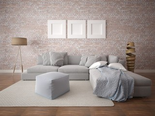 Mock up an unusual living room with a large corner sofa and a brick wall background.