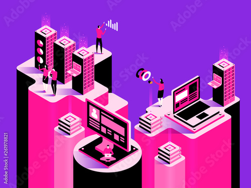 Smart system. Abstract technology concept. Vector isometric illustration - 261978821