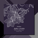 Invitation template for wedding ceremony, greeting, element for design. Vector pattern with hand-drawn flowers lilies. Cute floral card on  abstract background.