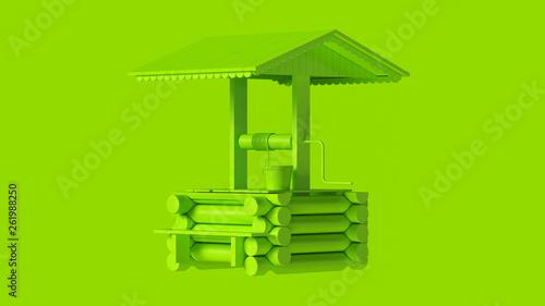 Leinwandbild Motiv Lime Green Wooden Water Well with Bucket Covered 3d illustration