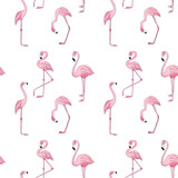 Seamless pattern with Pink Flamingo Hand drawn watercolor
