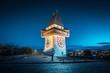 Leinwandbild Motiv Grazer Uhrturm at night, Styria, Austria
