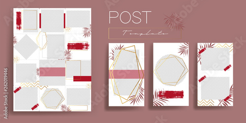 Design backgrounds for social media banner.Set of instagram post frame templates.Vector cover insta stories. Mockup for personal blog or shop. Endless square puzzle layout for promotion.
