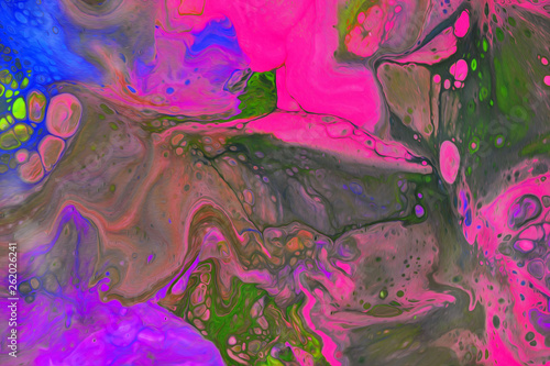 watercolor colorful background.Mix paint with bubbles © anwel