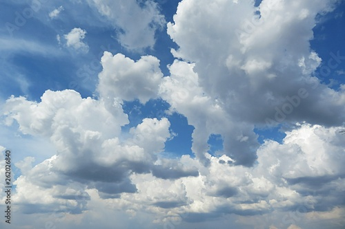 Beautiful sky with fluffy clouds - 262026840