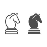 Horse chess line and glyph icon. Chess game vector illustration isolated on white. Sport outline style design, designed for web and app. Eps 10.