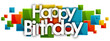 happy birthday word in rectangles background