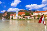 Landmarks of Austia, travel over Danaube river - Durnstein town.