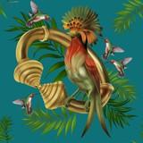 Golden bracelet hummingbird leaf tropical bird tropical flowers wallpaper green blue background illustration