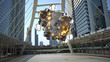 Floating spheres in business district 3D render
