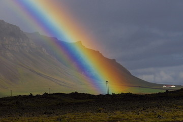 rainbow in the mountains in Iceland
