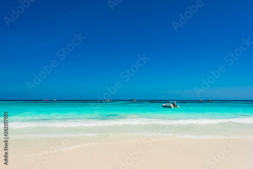 Beautiful blue ocean with gentle wave in summer for relaxation, Wonderful tropical beach