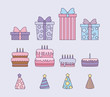 set of sweet cakes with hat party and gift box