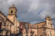 Vizzini, Sicily, Italy: HDR main historic church square of Vizzini, the beauty of its characteristic baroque architecture with cloudy sky in background